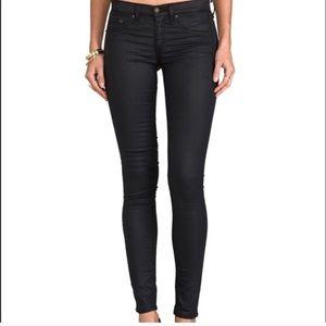 Women's Rag & Bone Black Coated Legging Jeans